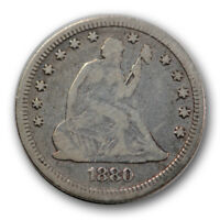 1880 25C LIBERTY SEATED QUARTER GOOD VG LOW MINTAGE TOUGH DATE R1259