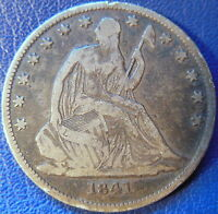 1841 O SEATED LIBERTY HALF DOLLAR FINE F US COIN 10601