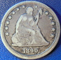 1890 SEATED LIBERTY QUARTER FINE TO EXTRA FINE US COIN 10589