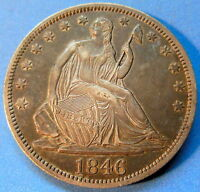 1846 TALL DATE SEATED LIBERTY HALF DOLLAR ABOUT UNCIRCULATED AU TONED COIN 5119