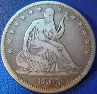 1863 SEATED LIBERTY HALF DOLLAR FINE TO EXTRA FINE US COIN P MINT 10091