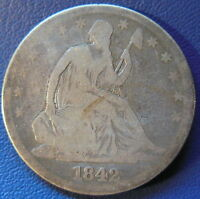 1842 SEATED LIBERTY HALF DOLLAR GOOD VG 50C US COIN 6409