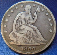 1860 SEATED LIBERTY HALF DOLLAR FINE TO FINE BETTER DATE P MINT 9539
