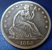 1863 SEATED LIBERTY HALF DOLLAR FINE TO EXTRA FINE P MINT US COIN 8810