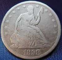 1858 S SEATED LIBERTY HALF DOLLAR FINE TO FINE BETTER DATE US COIN 9536