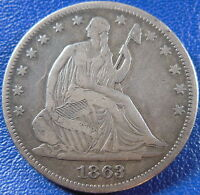 1863 SEATED LIBERTY HALF DOLLAR FINE TO EXTRA FINE CIVIL WAR DATE 10875