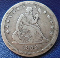 1842 O SEATED LIBERTY QUARTER FINE TO EXTRA FINE US COIN 10128