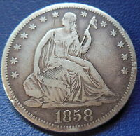 1858 S SEATED LIBERTY HALF DOLLAR FINE TO EXTRA FINE BETTER DATE COIN 7853