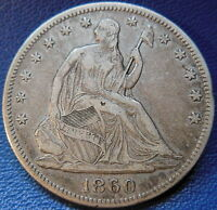 1860 SEATED LIBERTY HALF DOLLAR EXTRA FINE XF BETTER DATE ORIGINAL P MINT 9538
