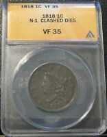 1818 LG. CENT W/CLASHED DIES ANACS VF35
