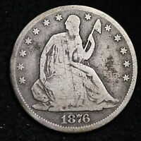 1876 CC SEATED LIBERTY HALF DOLLAR CHOICE VG  E337 EM