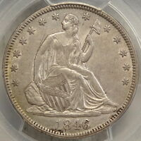 1846 SEATED LIBERTY HALF DOLLAR TALL DATE CERTIFIED PCGS AU 55 SLABBED PQ