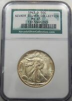 1943 D WALKING LIBERTY HALF DOLLAR - NEVADA SILVER COLLECTION - NGC MINT STATE 65