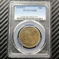 1875 CC SEATED LIBERTY HALF DOLLAR PCGS VG 8   CARSON CITY