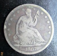 1867 S SEATED LIBERTY SILVER HALF DOLLAR GOOD/VG G8169