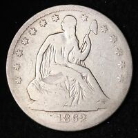 1862 S SEATED LIBERTY HALF DOLLAR CHOICE FINE