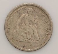 1860 SEATED LIBERTY SILVER HALF DIME G57