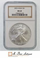 MS69 2003 AMERICAN SILVER EAGLE DOLLAR   GRADED NGC 322