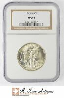 MINT STATE 67 1943-D WALKING LIBERTY HALF DOLLAR 90 SILVER - GRADED NGC XC73