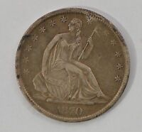 1870 S SEATED LIBERTY SILVER HALF DOLLAR G97