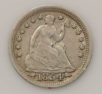 1854 P SEATED LIBERTY SILVER HALF DIME G46