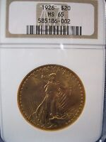 1926  $20 DOUBLE EAGLE   ST GAUDENS    NGC MS 65