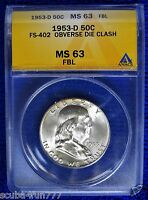 1953 D FS 402 ODC MS63 FBL FRANKLIN HALF DOLLAR FULL BELL LINES 50C 3 AVAILABLE
