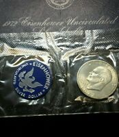 1972 S UNCIRCULATED EISENHOWER SILVER DOLLAR IN BLUE PACK 40 SILVER 1