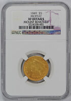 1849 PRIVATE ISSUE | TERRITORIAL GOLD MOFFAT & CO. $5 NGC XF DETAILS EXTRA FINE