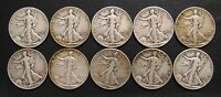 GROUP OF 10 LIBERTY HALF DOLLARS FROM THE 1940'S. P-D-S MIXED DATES, FINE TO VER