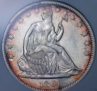 1860 SEATED HALF DOLLAR OLD SMALL WHITE ANACS AU 50 BRIGHT CENTERS TONED RIMS