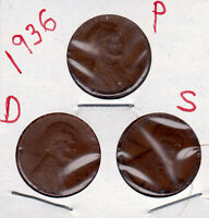 1936 P,D,AND S LINCOLN CENT IN GOOD & BETTER CONDITION 3 COINS  STK567