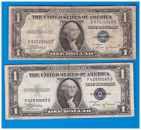 SILVER CERTIFICATE $1 1935 B LOT OF 2 NOTES LOT P 216