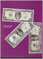 1 1963 2 DOLLAR RED SEAL AND 1 1935 & 1 1957 SILVER CERTIFICATE LOT  B 172