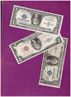 1 1953 2 DOLLAR RED SEAL AND 1 1935 & 1 1957 SILVER CERTIFICATE LOT  B 156