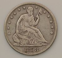 1858 P SEATED LIBERTY SILVER HALF DOLLAR G93