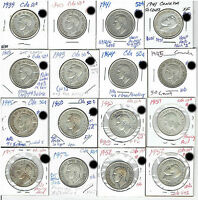 CANADA SILVER 50 CENT 1939/1945 16 DIFFERENT VARIATIONS FINE TO AU FREE S/H