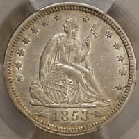1853 ARROW & RAYS SEATED LIBERTY QUARTER ALMOST UNCIRCULATED PCGS CERTIFIED