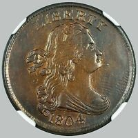 UNC NGC 1804 1/2C SPIKED CHIN DRAPED BUST HALF CENT C 6