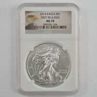2014 AMERICAN SILVER EAGLE FIRST RELEASE   NGC MS70 A91
