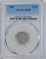 1887 3CN THREE CENT NICKEL PCGS AU 53 ABOUT UNCIRCULATED CERT3851