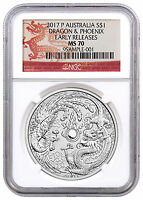 2017 P AUSTRALIA 1 OZ SILVER DRAGON & PHOENIX NGC MS70 ER DRAGON LABEL SKU44098