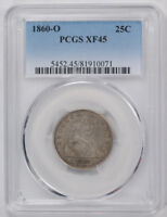 1860 O 25C LIBERTY SEATED QUARTER PCGS XF 45 EXTRA FINE TO AU ATTRACTIVE
