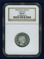 ITALY / ITALIAN STATES  TUSCANY  1843  1 PAOLO SILVER COIN NGC CERTIFIED MS64