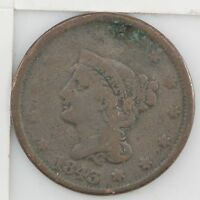 1843 BRAIDED HAIR LARGE CENT FILLED HOLE Z61