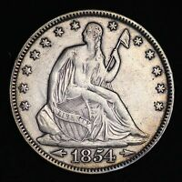 1854 SEATED LIBERTY HALF DOLLAR CHOICE XF  E271 THT