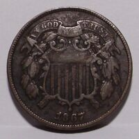 1867 TWO CENT PIECE , FINE