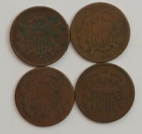 LOT 4 COINS: 1864/1865/1866/1868 TWO CENT PIECES G82
