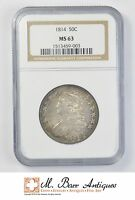 MS63 1814 CAPPED BUST HALF DOLLAR   GRADED NGC 2181