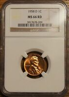 1958 D LINCOLN WHEAT CENT 1  GRADED BY NGC MS 66 RED 3917678 209